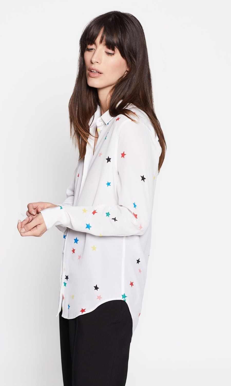 ce1c12a0e758a1 ... 100% natural silk blouse print colorful star shirt chiffon blusas women  office lady high quality ...