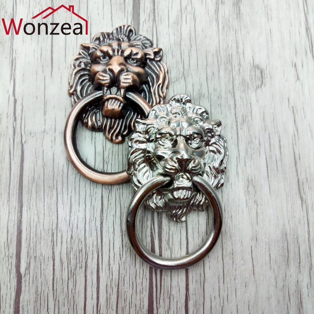 Wonzeal Antique Furniture Handles Vintage Lion Head Cabinet Knobs