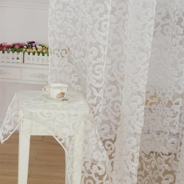NAPEARL stile Europeo disegno jacquard tenda della decorazione della casa moderna tulle tessuti organza sheer finestra pannello di trattamento bianco