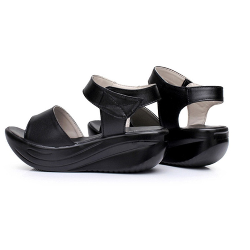 fe8a7ed727e8 LIN KING Fashion Wedges Women Sandals Soild Ankle Height Increase Platform  Swing Shoes Girls Summer Beach Shoes Plus Size 43-in High Heels from Shoes  on ...