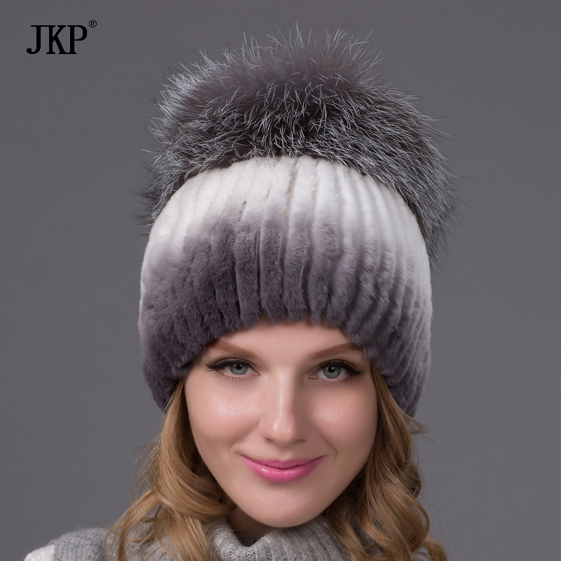 Winter rex rabbit fur hat for women with fox fur pom poms top knitted beanies fur hats new brand causal good quality cap THY-02 купить