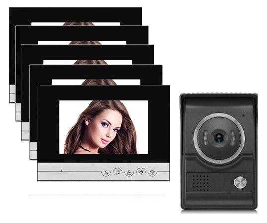 xinsilu wired home video door phone intercom doorbell 7 inch infrared night vision waterproof. Black Bedroom Furniture Sets. Home Design Ideas