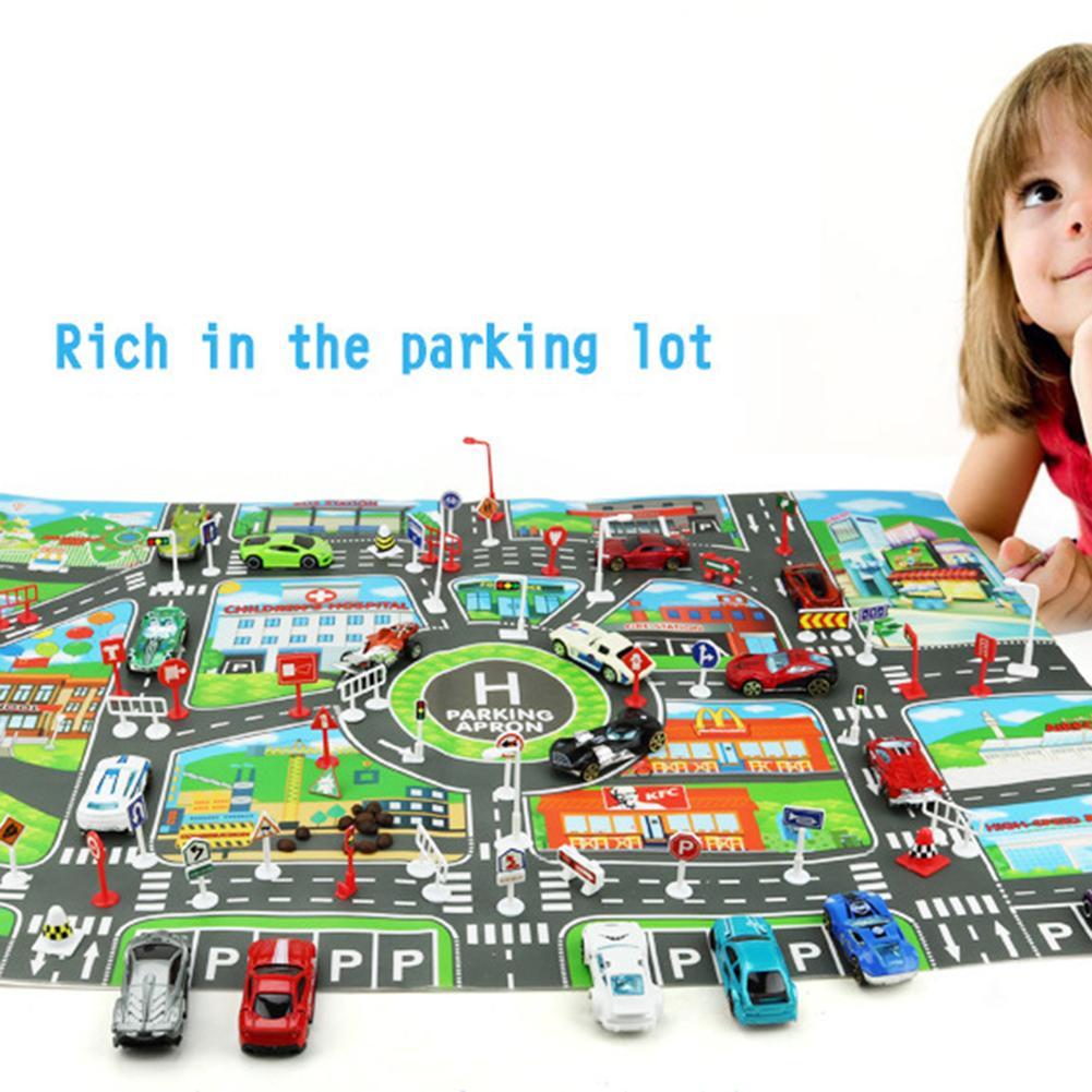 Kids Toys City Parking Lot Roadmap Map DIY 28 Pcs Road Signs Car Model Climbing Mats Toys English Version Gift For Child