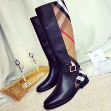 top quality brand england plaid leather boots,fashion boot women's luxure design boots genuine leather boots high heel shoes