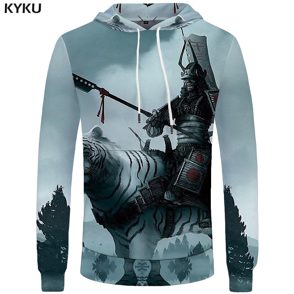 KYKU Tiger Hoodies Men Army Mens Clothing Jungle Big Size Anime Sweatshirt Hoddie Pocket 3d Hoodies Hood New Fashion Man