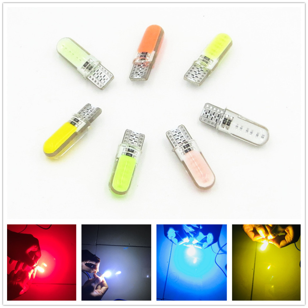 CYAN SOIL BAY 1 pc Car LED Silicone Small Lights T10 194 W5W COB White Light Car-styling Blue Red Yellow Green Pink Color 1 x t10 cob led bulb white yellow green blue red color 194 w5w car rear light automotive lamp