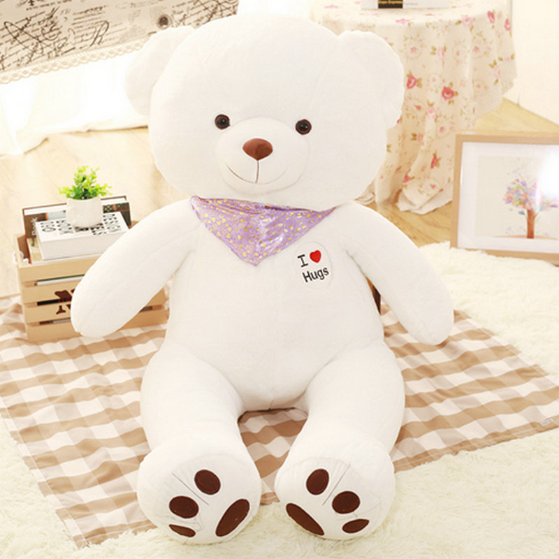 Yesfeier 100cm Wholesale New Style white bear plush toys stuffed plush bear cloth doll animals doll birthday gift for Kids toys 50 100cm new style blue shark plush toys big fish cloth doll whale stuffed plush animals doll children birthday gift