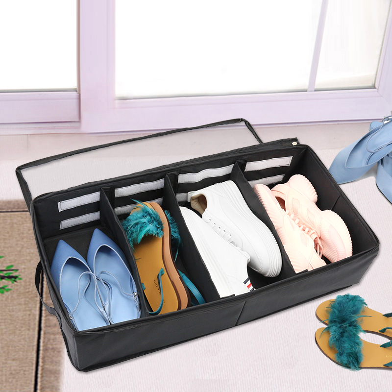 Yiwumart Folding Washable Oxford Storage Shoes Box With Zipper PVC Cover Organizer Boxes For Boots Underwear Socks Organizers in Storage Boxes Bins from Home Garden