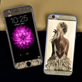 for iPhone 5 5S SE 6S 6Plus Front + Back Girl Sketch Plating Skin Sticker Cover Film Tempered Glass Screen Protector Rose Gold