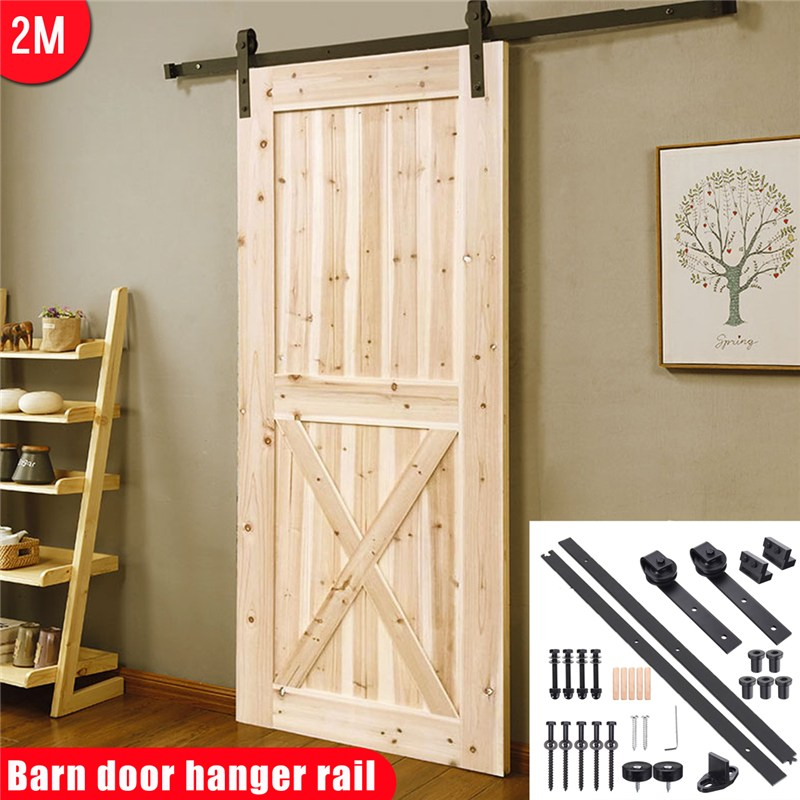 6.6ft Sliding Barn Door Hardware Interior Closet Track Carbon Steel Rollers Set Carbon Steel Smooth Sliding Barn Door Hardware напольная плитка petracer s ad maiora fondo stuoiato beige 50x50