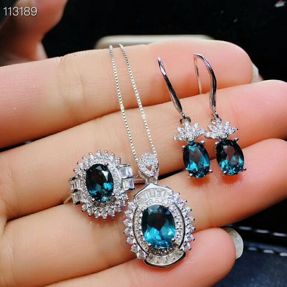 MeiBaPJ Very Beautiful Natural London Blue Topaz Gemstone Jewelry Set 925 Pure Silver 3 Pieces Suit Wedding Jewelry for Women