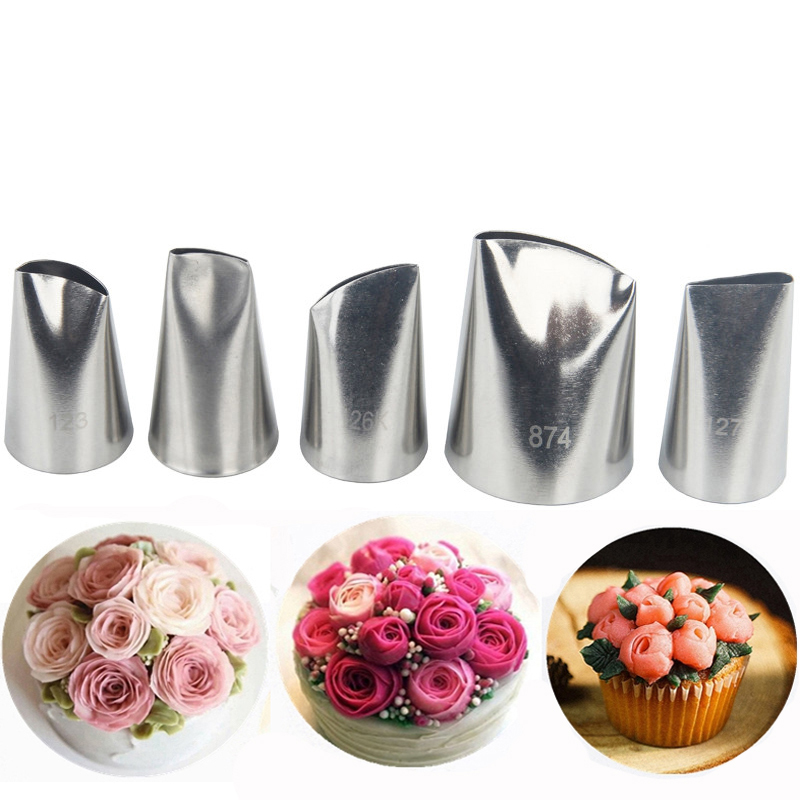 5pcs Large Petal Cream Tips Stainless Steel Icing Piping Nozzles Set Pastry Tools Cake Decorating