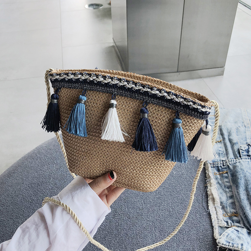 women small straw shoulder bag purse crossbody bags for women purses and handbags Tassel Bohemian Shell bags 2019 new in Shoulder Bags from Luggage Bags