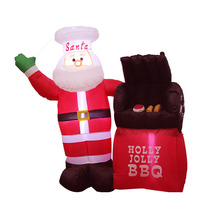 5 Foot Tall LED Lighted Christmas Inflatable Santa Claus Holly Jolly BBQ Stove Yard Art Decoration все цены