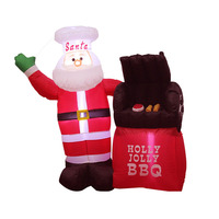 5 Foot Tall LED Lighted Christmas Inflatable Santa Claus Holly Jolly BBQ Stove Yard Art Decoration
