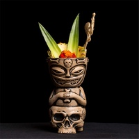 2018 Skull glass Creative Tiki Mug Barware Cocktail Mugs Beer Wine Cup Hawaii Art Ceramic Cup Wine Accessories Ceramic Crafts