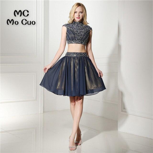 5f8b8cc29c08 Blu scuro vestito homecoming Due Pezzi Abito Cristalli Borda il cocktail  party dress sopra il ginocchio