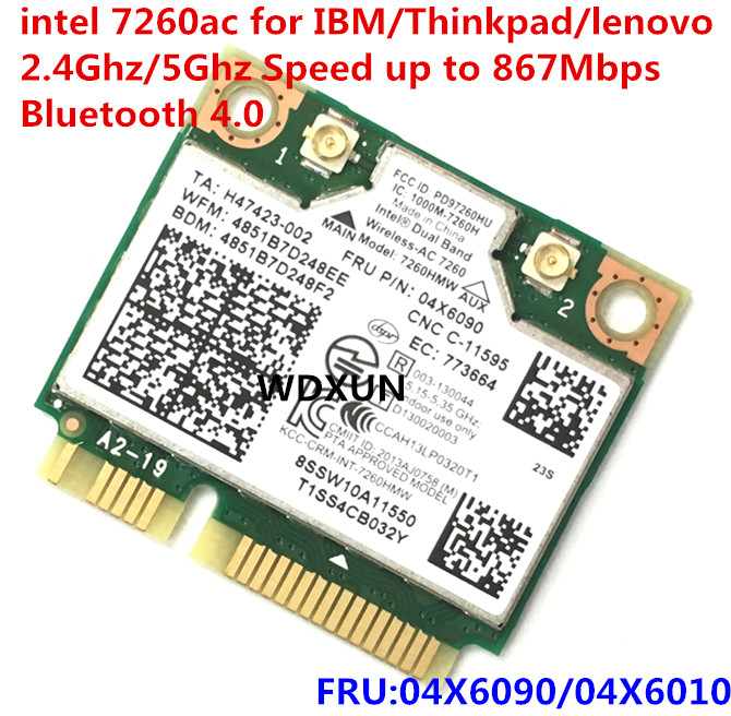 Dual Band Wireless-AC 7260 7260AC 7260HMW Network Card Wifi+BT 4.0 Bluetooth Adapter Mini PCI-E 867Mbps Lenovo 04X6090 04X6010