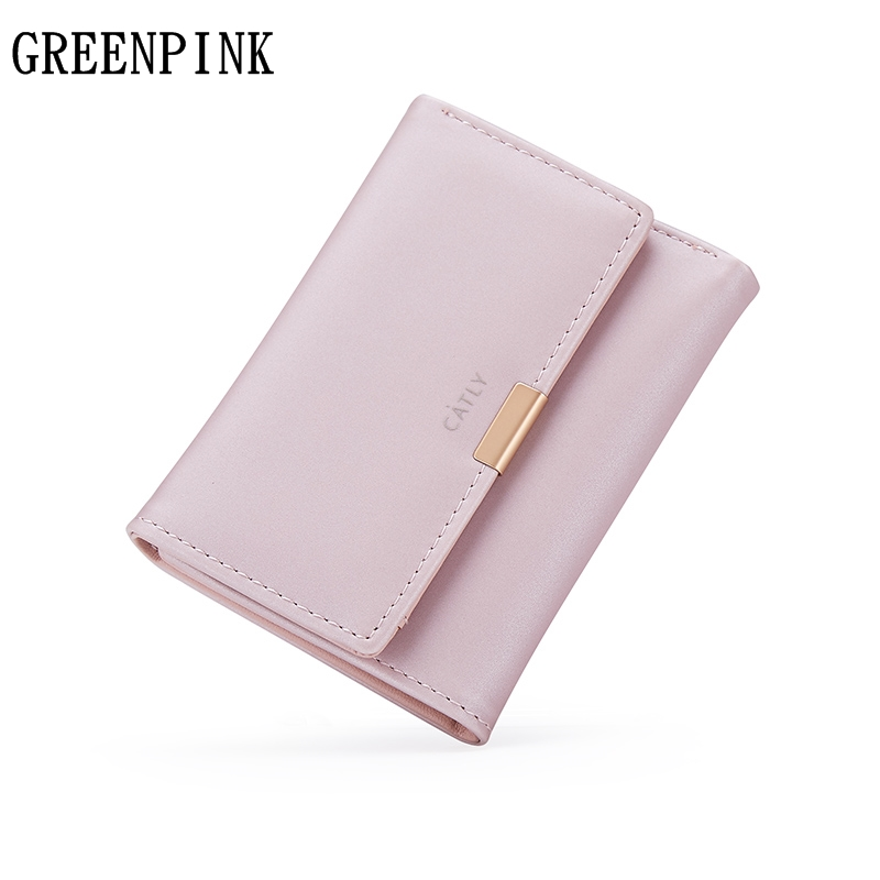 GREENPINK Small Wallet Female 2017 New Fashion Luxury Brand Women Wallets Slim Coin Purse High Quality PU Leather Mini Money Bag