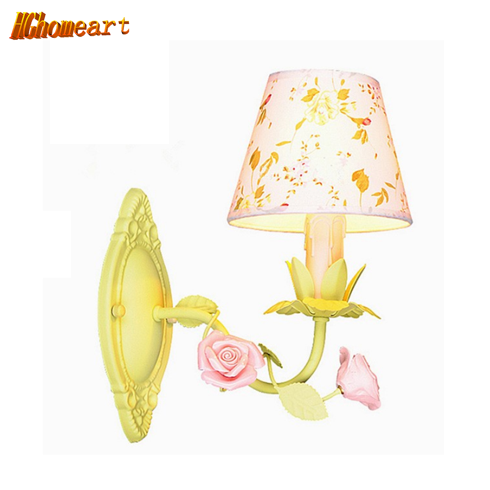 Hghomeart Pastoral Cloth Creative Personality Childrenu0027s Room Boys And Girls  Bedroom Wall Lamp Bedside Lamps(