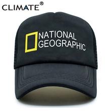 CLIMATE Men New Trucker Sapka National Geographic Channel Hot Summer Cool Caps Fekete Baseball Mesh Net Trucker sapka Hat a férfiaknak
