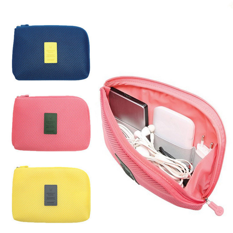 LJQEAST Creative Shockproof Travel Digital USB Charger Cable Earphone Case Makeup Cosmetic Organizer Accessories Bag