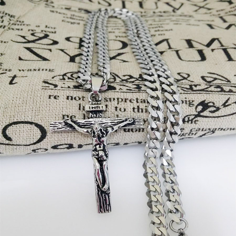 Free Shipping Charming New Punk Mens Jewelry Stainless Steel Silver Cross Pendant Necklace With 23.6