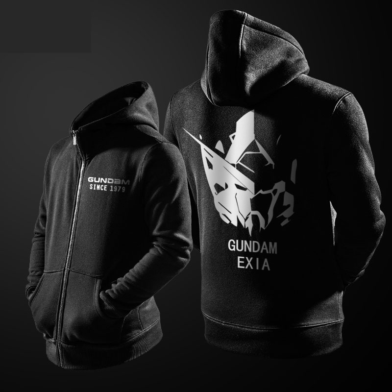 Top Design Anime Sweatshirts Mens Gundam Zipper Coat Youth Black Red XXL Boys Free Shipping