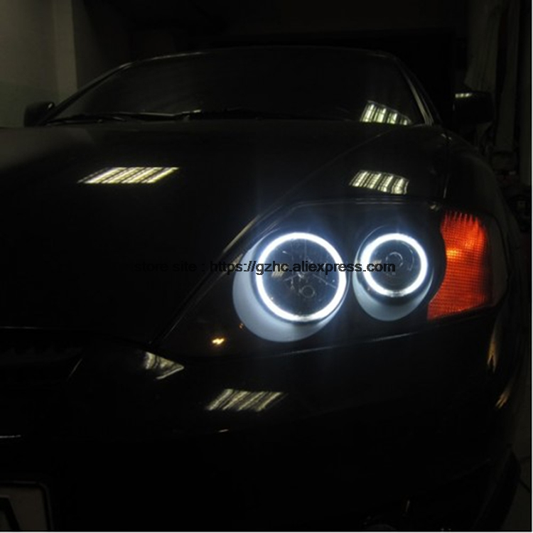 For Hyundai Tiburon 2003 2004 2005 2006 Ultra Bright Day Light DRL CCFL Angel Eyes Demon Eyes Kit Warm White Halo Ring hochitech excellent ccfl angel eyes kit ultra bright headlight illumination for hyundai tiburon 2003 2004 2005 2006