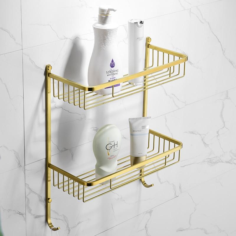 Brushed Gold Bath Brass Shower Caddy Wire Basket Storage Shelves Single Layer