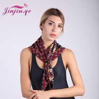 Jinjin. QC 2019 nueva bufanda cuadrada de seda de marca de satén Bufandas poliéster 70*70 Hijab colores Bufandas Mujer caballo echarpe foulard