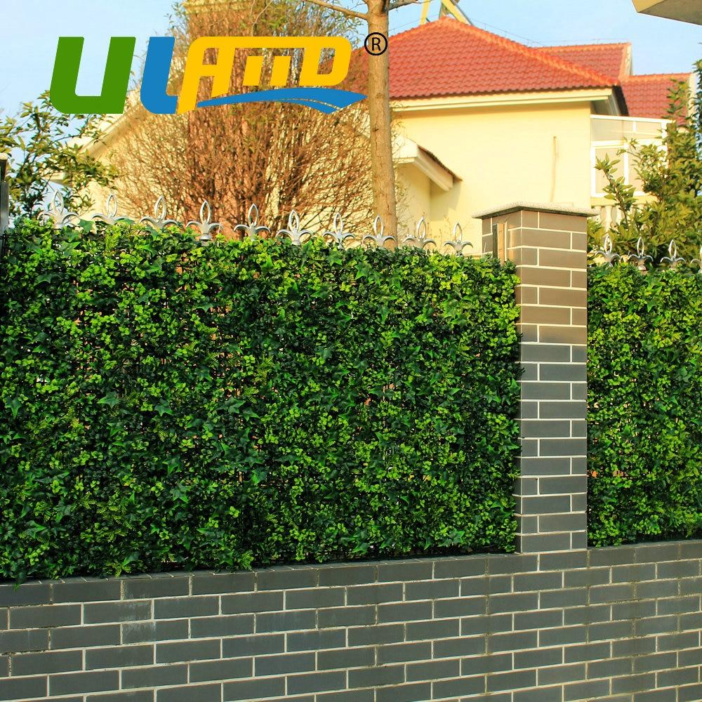ULAND 25x25cm/pc Artificial Boxwood Hedge Panels Outdoor Plastic Garden  Fence Grass Mat UV Garden