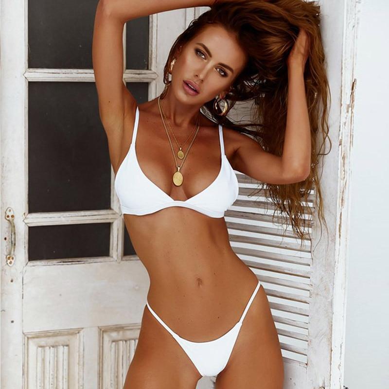Buy sporlike Sexy Brazilian Bikinis Women Swimsuit 2018 Padded Beach Wear Halter Bikini Set Push Swimwear Bathing Suit Swimming