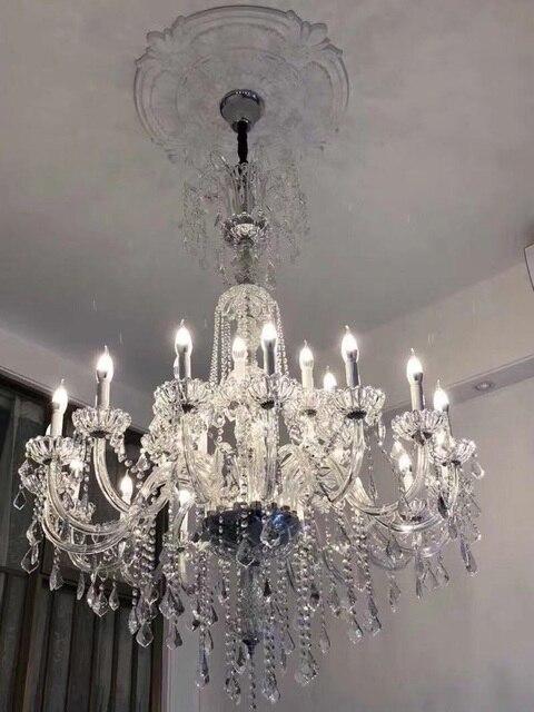 Duplex étage 30-head moderne lustre éclairage lampe en cristal 1.5 M long grand luxe verre lustre lampe à LED hall E14