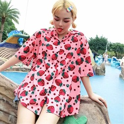 2019 New Women Blouses Holiday Casual Short Sleeve Tops Ladies Strawberry Printed Shirt Korean Summer Fashion Women Clothing 4