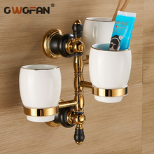 New Luxury Golden brass three cup holder style copper toothbrush 3pcs cup holder wall bath cup rack bathroom accessories XL66836 стоимость
