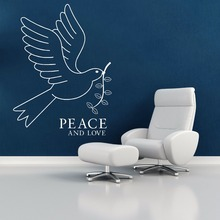 цена на Wall Sticker Removable Bird Of Peace And Love Wall Decal Vinyl Peace Style Wall Art Mural Home Bedroom Decoration Stickers AY649