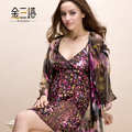 Advanced mulberry silk sleepwear female aesthetic flower silk burnt-out raw silk robe set lounge set