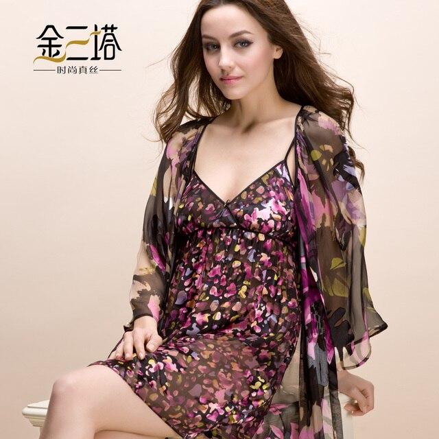 Advanced mulberry silk sleepwear female aesthetic flower silk burnt-out raw silk robe set lounge set