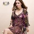 Flor de seda amoreira sleepwear feminino de seda queimado - robe de seda salão