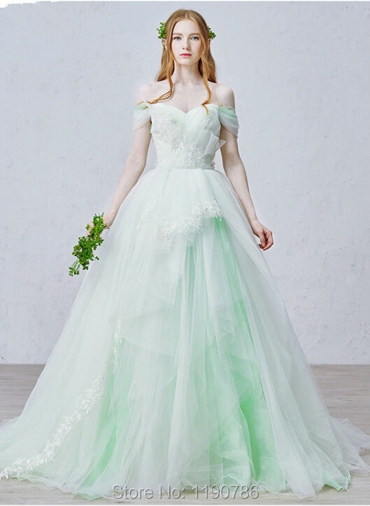 Unique Designer Mint Green Tulle Ball Gown Wedding Dresses