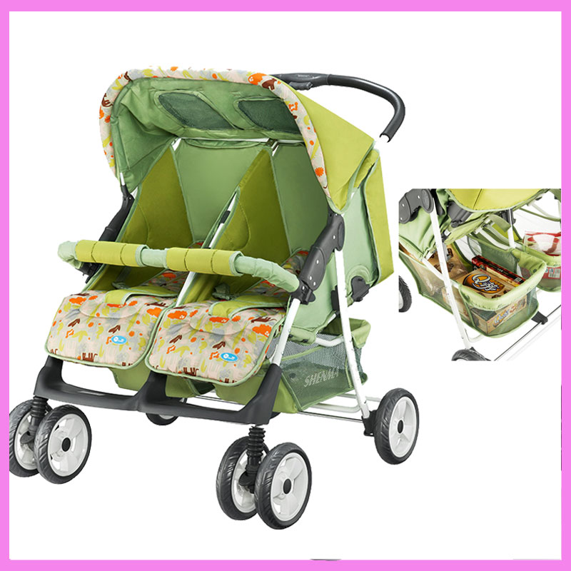 Twins Baby Stroller Two Babies Trolley Lying Flat Newborn Infant Folding Double Umbrella Stroller Baby Twin Pram Buggy Pushchair twins stroller double stroller super twins stroller carrier pram buggy leader handcart ems shipping