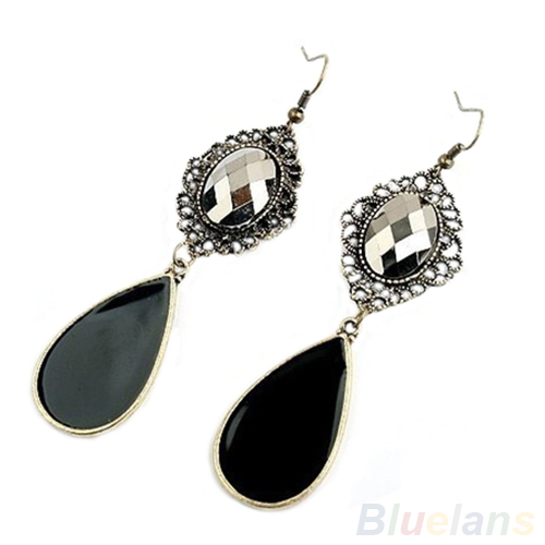 Women Vintage Bohemian Style Black Water Drop Jewelry Long Dangle Charm Earrings