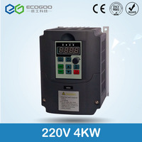 high quality 4KW VFD inverter 220V input 1PH output 3PH frequency inverter spindle motor