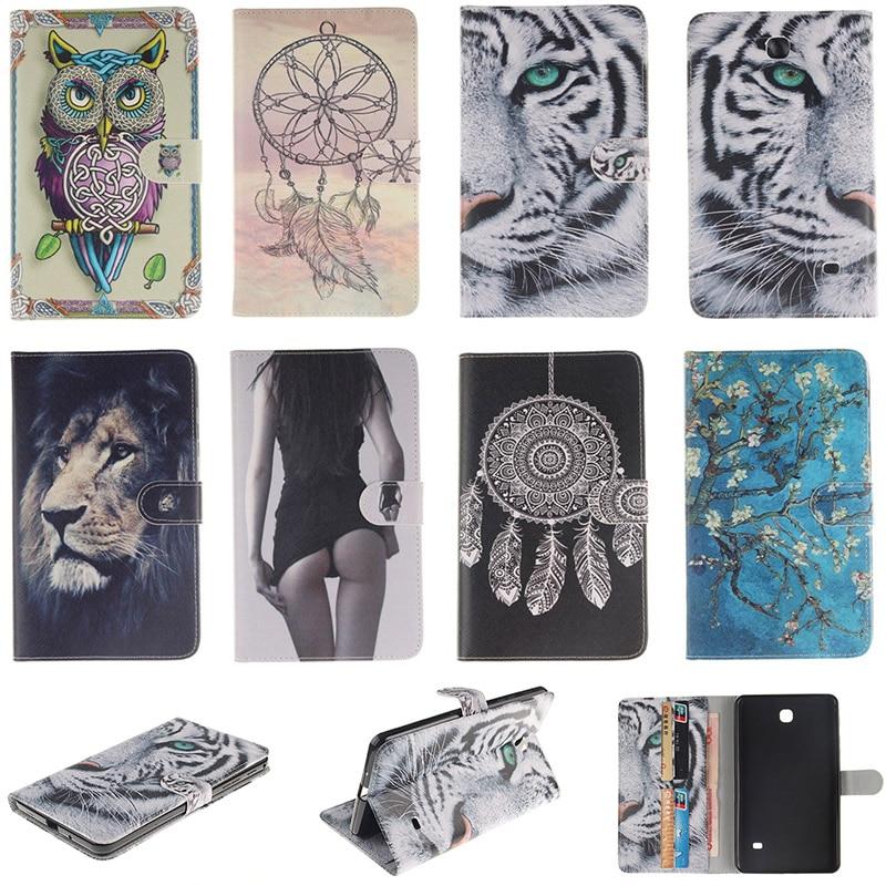 Fashion Cartoon Tiger Lion Pattern PU Leather Flip Case For Samsung GALAXY Tab 4 7.0 T230 T231 Back Cover With Card Holder Funda