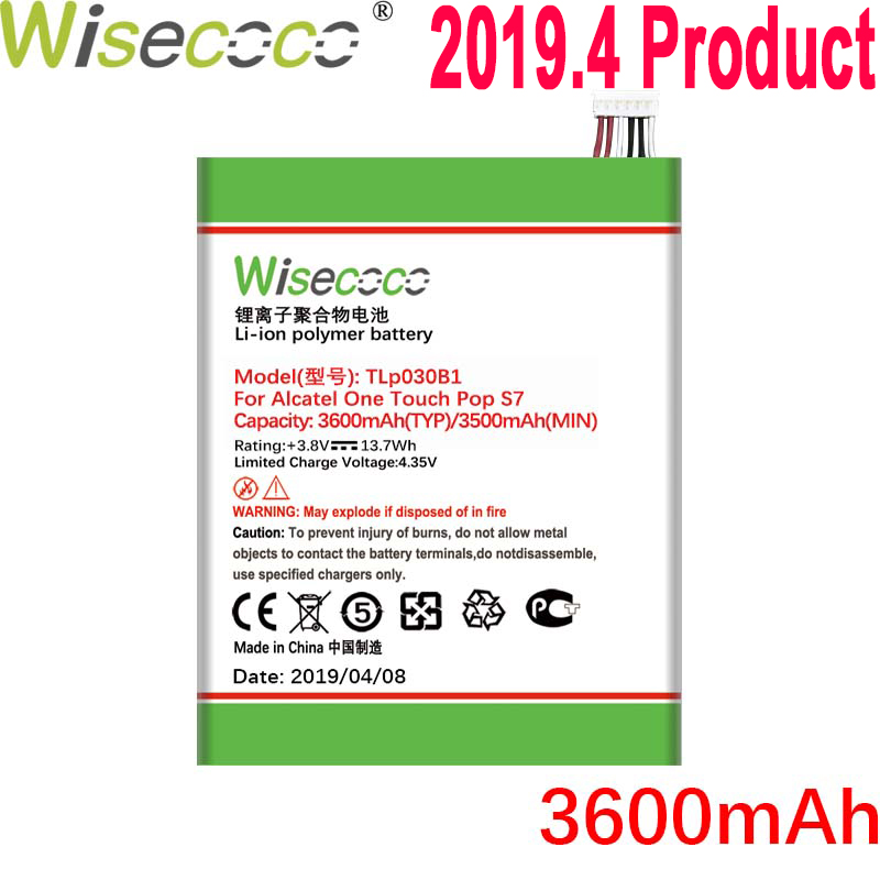 Wisecoco 3600mAh TLp030B2 TLp030B1 Battery For Alcatel One Touch Pop S7 OT 7045 <font><b>7045Y</b></font> Vodafone Phone New Product+Tracking Number image
