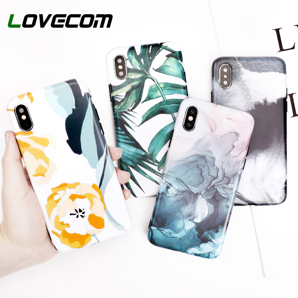 LOVECOM Case For iPhone 6 6S 7 8 Plus X IMD Soft Banana Leaf Ink Painting Protective Retro Phone Back Cover Case Coque Gift