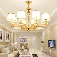 Led e14 הפוסטמודרנית בד זהב גביש ברזל LED נברשת נברשת תאורת אור LED מנורת LED עבור חדר אוכל מבואת-בנברשות מתוך פנסים ותאורה באתר