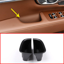 все цены на Black Front and Rear Door Handle Storage Box Container Holder Tray For Volvo S90 V90CC Car Accessories 2Pcs/set онлайн