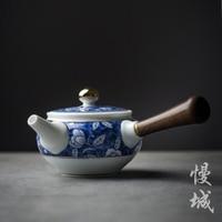 China Jingdezhen ebony wood handle Kung Fu tea pot blue and white porcelain teapot antique ceramic handmade teaware kettle gift
